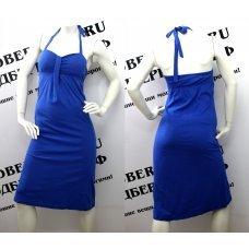 Длинное синее платье с чашками