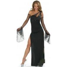 Длинное платье на одно плечо со стразами