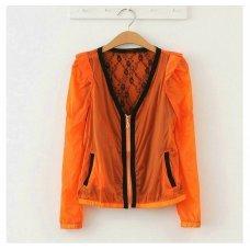 Изящная оранжевая кофта на молнии с кружевом