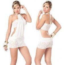 Привлекательное белое платье с кружевом + топ