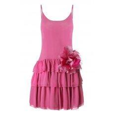 Розовое платье ярус шелк