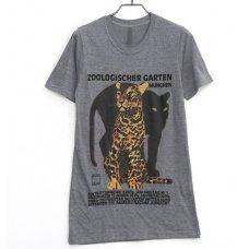 """Серая футболка с принтом """"Leopard"""" (унисекс)"""