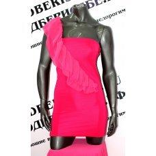 Восхитительное розовое платье на одно плечо