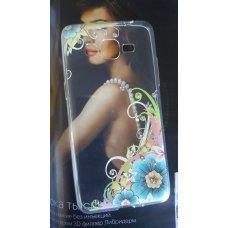 """Силиконовая накладка со стразами """"Цветы"""" для Samsung Galaxy J2 Prime"""