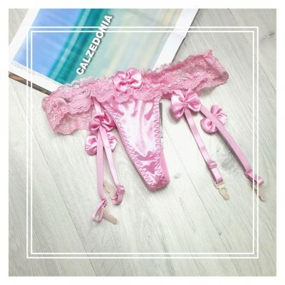 Розовые трусики-подвязки